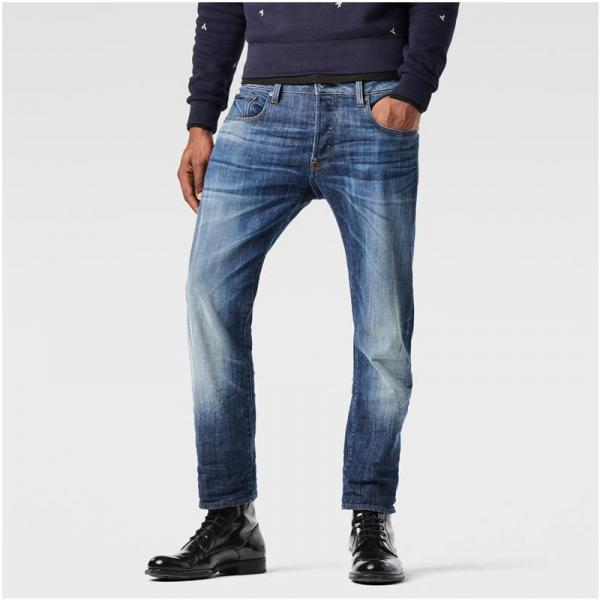 Jean droit taille basse G-Star Attac Straight usé homme - Bleu G-Star RAW Homme