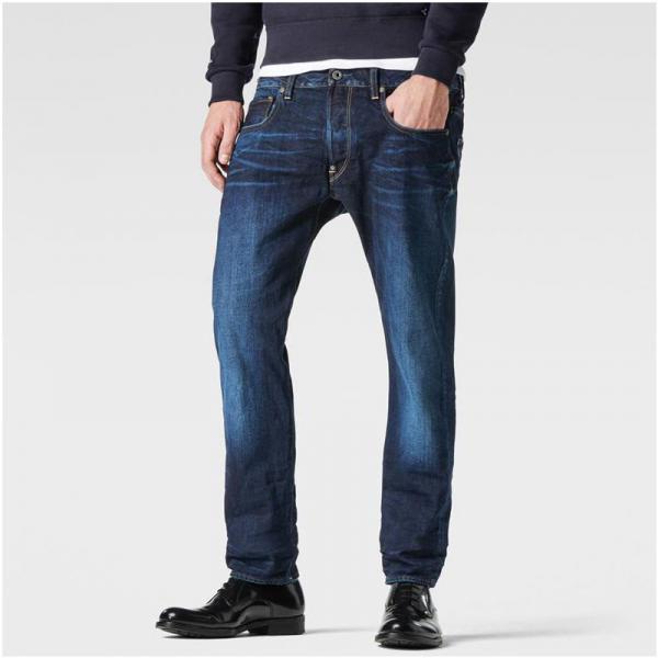 4de9e110537f2 Jean droit taille basse usé G-Star Attac Straight homme L 34 - Bleu Moyen
