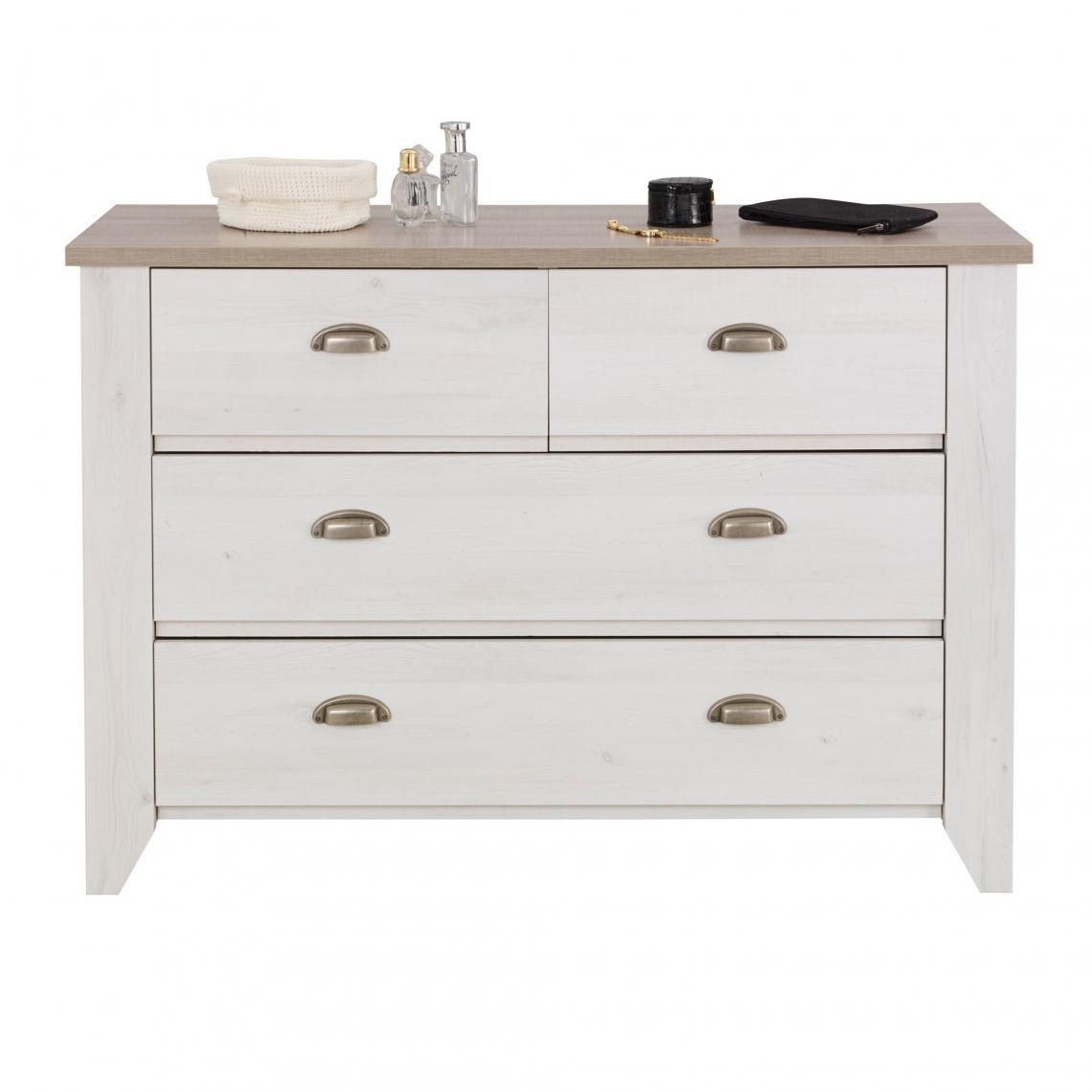 Commodes et chiffonniers Gami Cliquez l image pour l agrandir. Commode 4  tiroirs Ellen Gami - Décor cerisier blanchi   chêne gris Gami ba4d1ecfe949