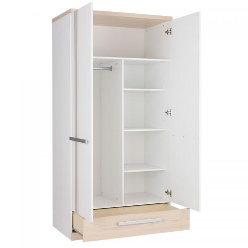 Gami - Armoire 2 portes 1 tiroir Titouan Gami - Décor frêne   blanc -  Armoires e8ca9a5de487