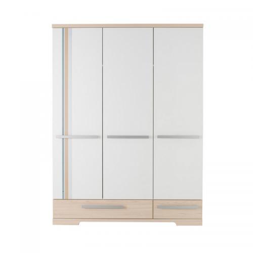 Gami - Armoire 3 portes 2 tiroirs Titouan Gami - Décor frêne   blanc -  Armoires 667a4eceac7d