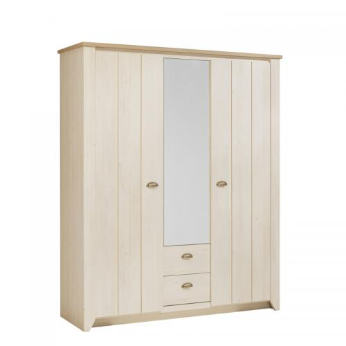 Gami - Armoire 3 portes 2 tiroirs 1 miroir Ellen Gami - Décor cerisier  blanchi   5ece238af4bf