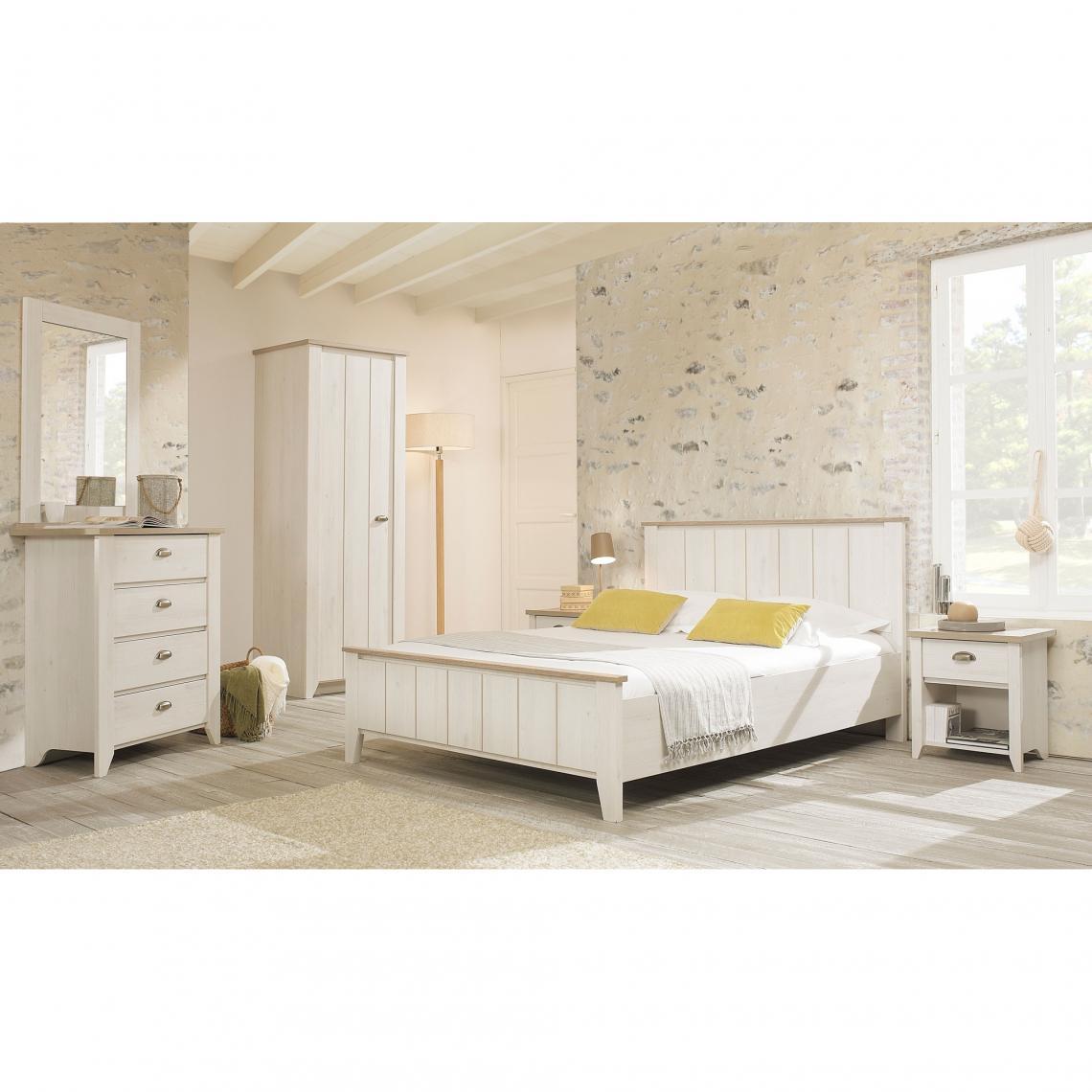 Commode 4 tiroirs Ellen Gami - Décor cerisier blanchi   chêne gris Gami 02de3a0e47f0