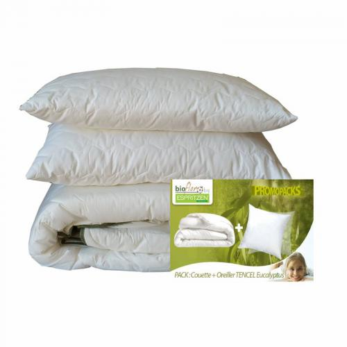 Greenbed - Pack couette 4 saisons 250 gm² + 350 gm² + 1 ou 2 oreillers synthétique BioFlor GREENBED - Blanc - Equipement du lit