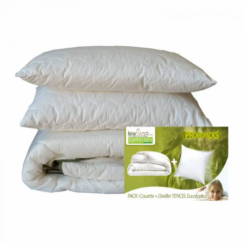 Greenbed - Pack couette 350 gm² + 1 ou 2 oreillers synthétiques BioFlor GREENBED enveloppe en percale - Blanc - Equipement du lit