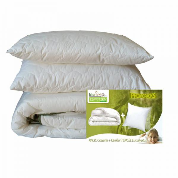 Pack couette 250 gm² + 1 ou 2 oreillers synthétique BioFlor GREENBED enveloppe en percale - Blanc Greenbed Literie
