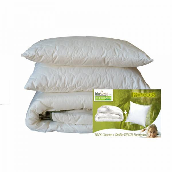 Pack couette 250 g/m² + 1 ou 2 oreillers 50 x 70 cm synthétiques BioFlor GREENBED - Blanc Greenbed Literie