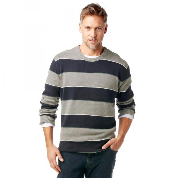 Pull rayé col rond fine maille homme Grey Connection Grey Connection Les essentiels Homme