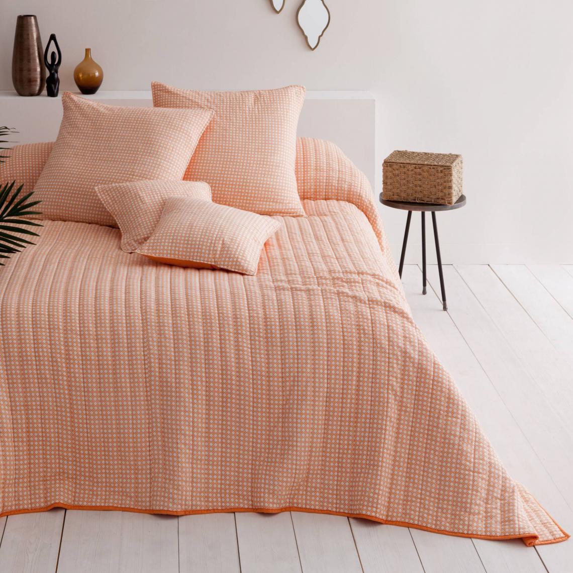 Plaid ou couvre lit boutis coton Goa abricot Harmony   Orange | 3