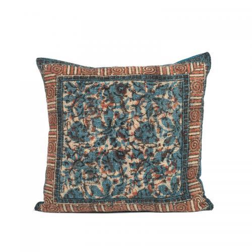 Housse de coussin carrée coton imprimé Arti Harmony - Bleu