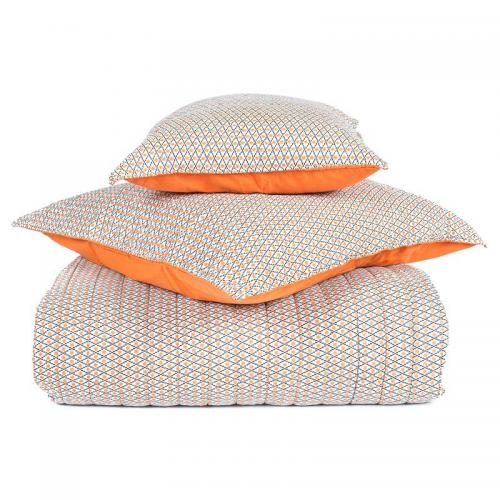 Harmony - Plaid courte pointe coton imprimé Timiki Harmony - Orange - Linge de maison
