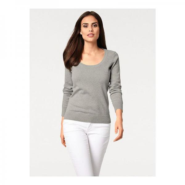 2ca8fe517f57 Pull col rond femme Helline - Gris Helline Femme