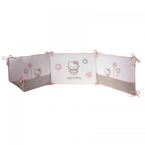 Tour de lit 3 panneaux HELLO KITTY Célestine - en velours - Multicolore