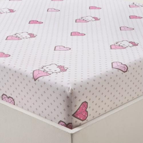Hello Kitty - Drap-housse enfant 1 personne coton HELLO KITTY KITE - Multicolore - Linge de lit enfant