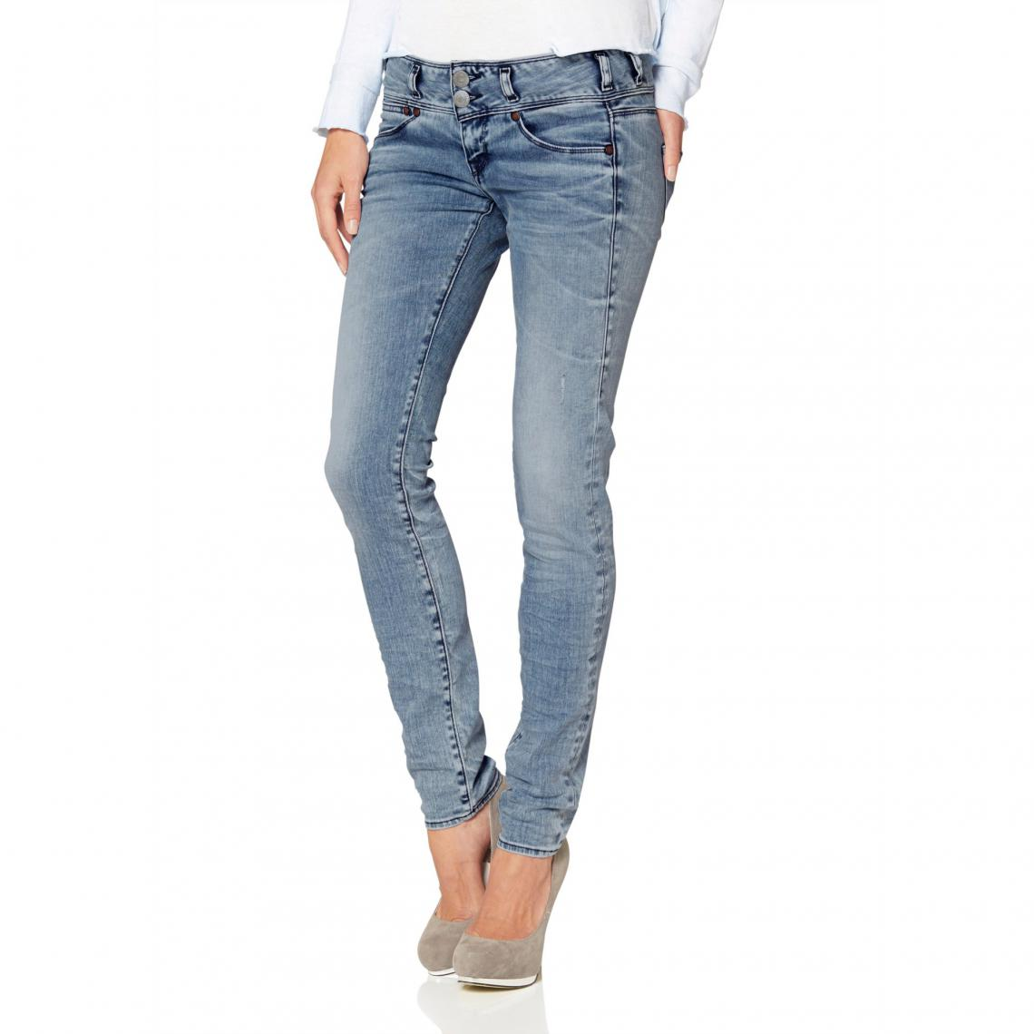 bd365a62dbbbf Jean skinny taille basse effet délavé femme Herrlicher - Bleu   3 ...