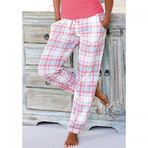 0fa5e3e4fc0371 Pantalon de pyjama coton imprimé carreaux femme H.I.S - Beige