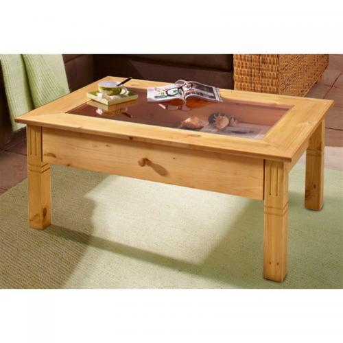 Home Affaire - Table basse rectangulaire en pin massif avec insert en verre Home affaire - Marron - Tables basses