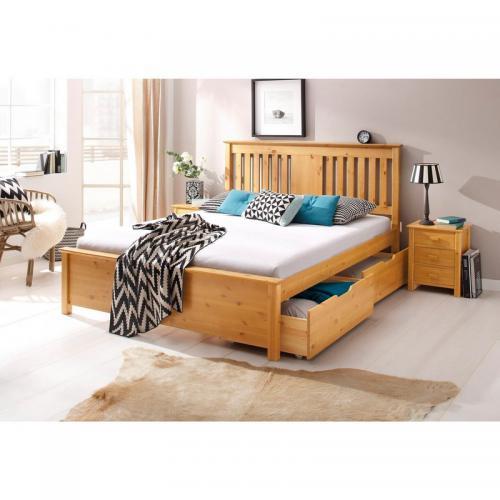 lit 2 personnes sommier en pin massif miel 3suisses. Black Bedroom Furniture Sets. Home Design Ideas
