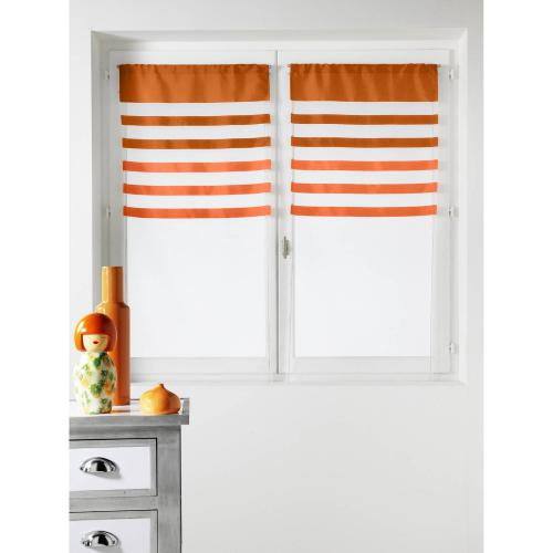 HomeMaison - Lot de 2 voilages rayés polyester passe-tringle Flash Home Maison - Orange - Voilages