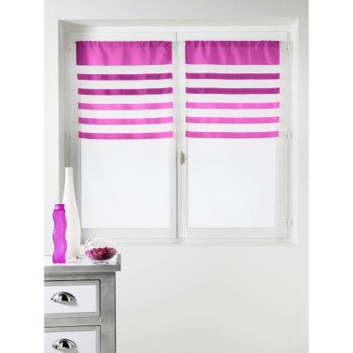 HomeMaison - Lot de 2 voilages rayés polyester passe-tringle Flash Home Maison - Rose - Voilages