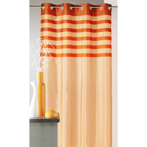 HomeMaison - Rideau rayé à oeillets shantung polyester Flash Home Maison - Orange - Rideaux & déco