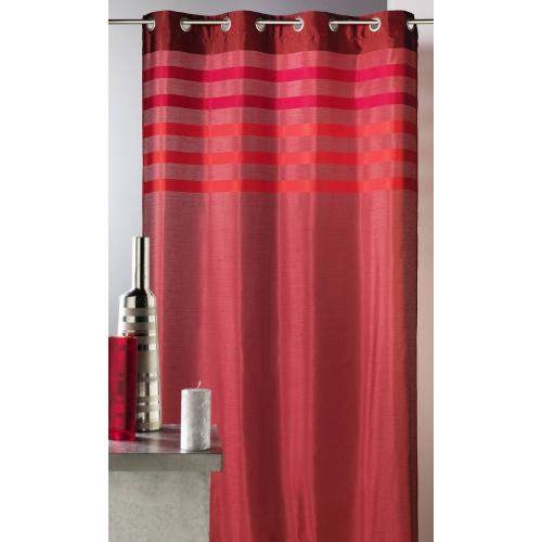 HomeMaison - Rideau rayé à oeillets shantung polyester Flash Home Maison - Rouge - HomeMaison