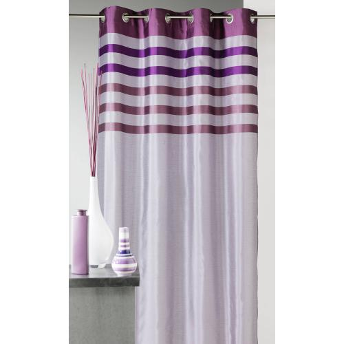 HomeMaison - Rideau rayé à oeillets shantung polyester Flash Home Maison - Violet - HomeMaison