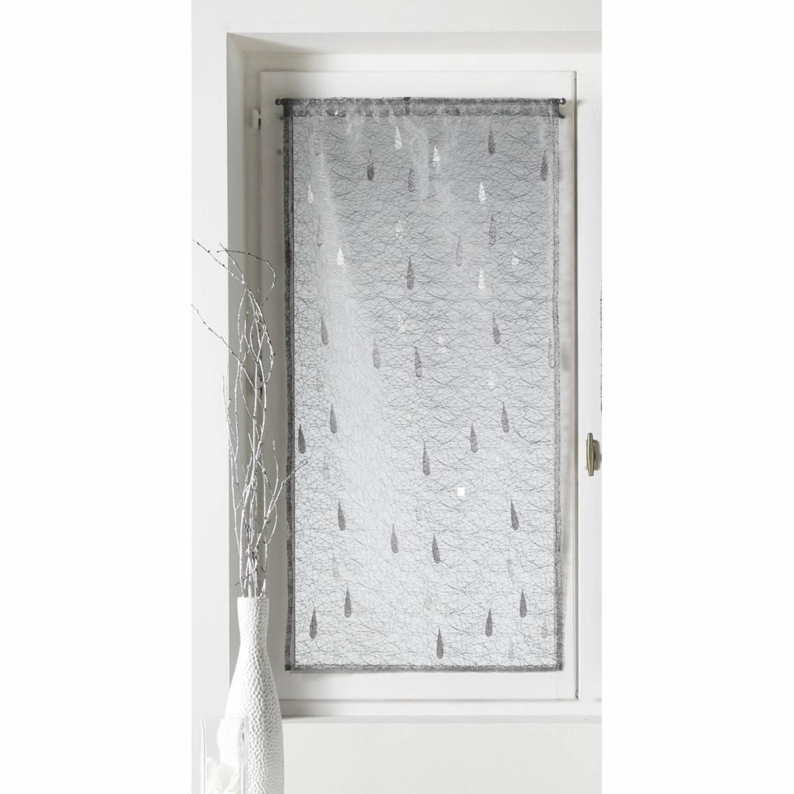 rideau voilage passe tringle motif gouttes jacquard et. Black Bedroom Furniture Sets. Home Design Ideas