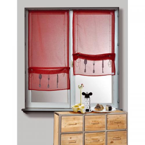 HomeMaison - Lot de 2 voilages passe-tringle motif cou polyester Bistrot Home Maison - Rouge - Voilages