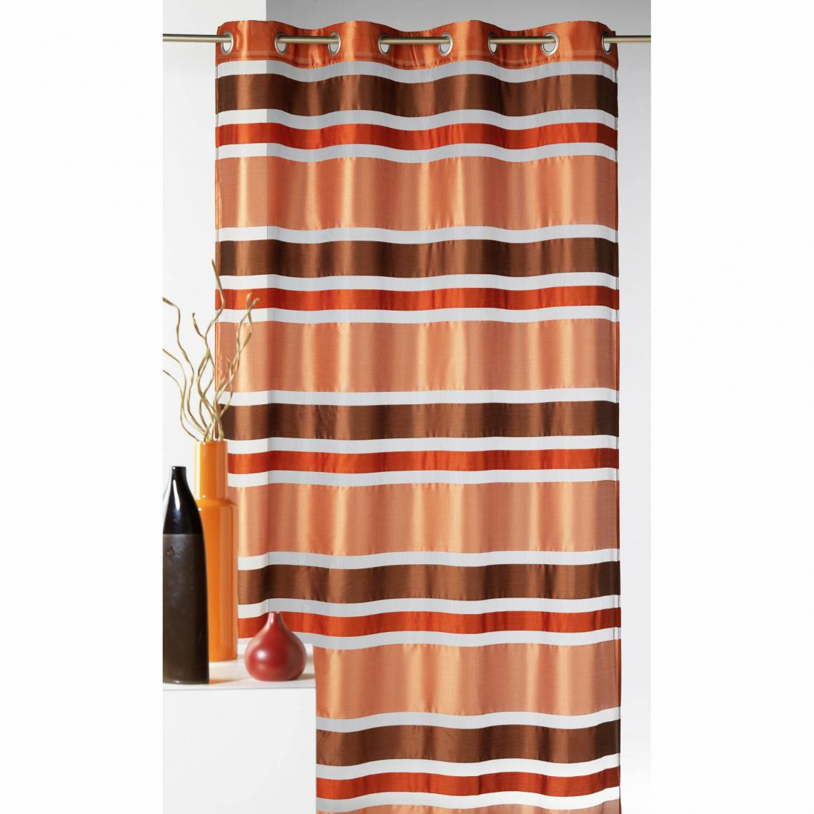 Rideau Voilage A œillets Raye Organza Polyester Mayotte Home Maison