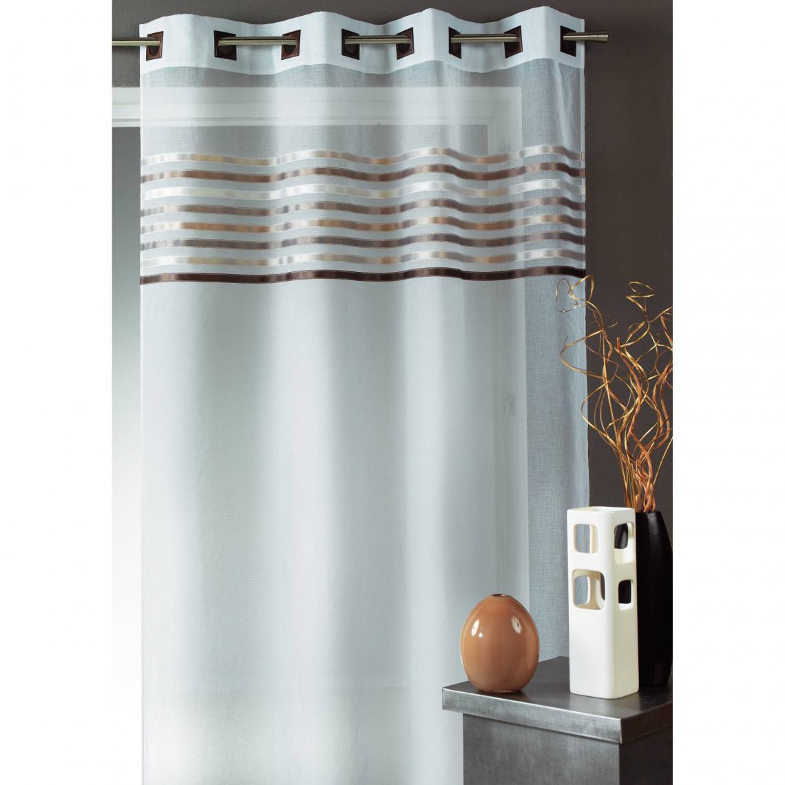Rideau voilage à œillets rayé polyester Grimaud Home Maison