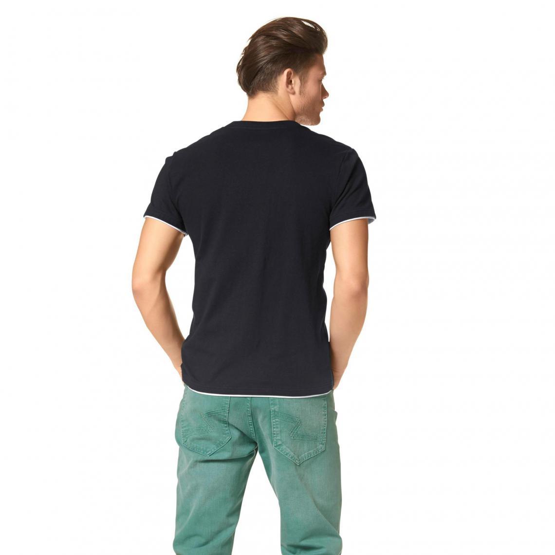 e9e34180cf1ee T-shirt 2 en 1 col V à manches courtes coton homme John Devin - Noir ...