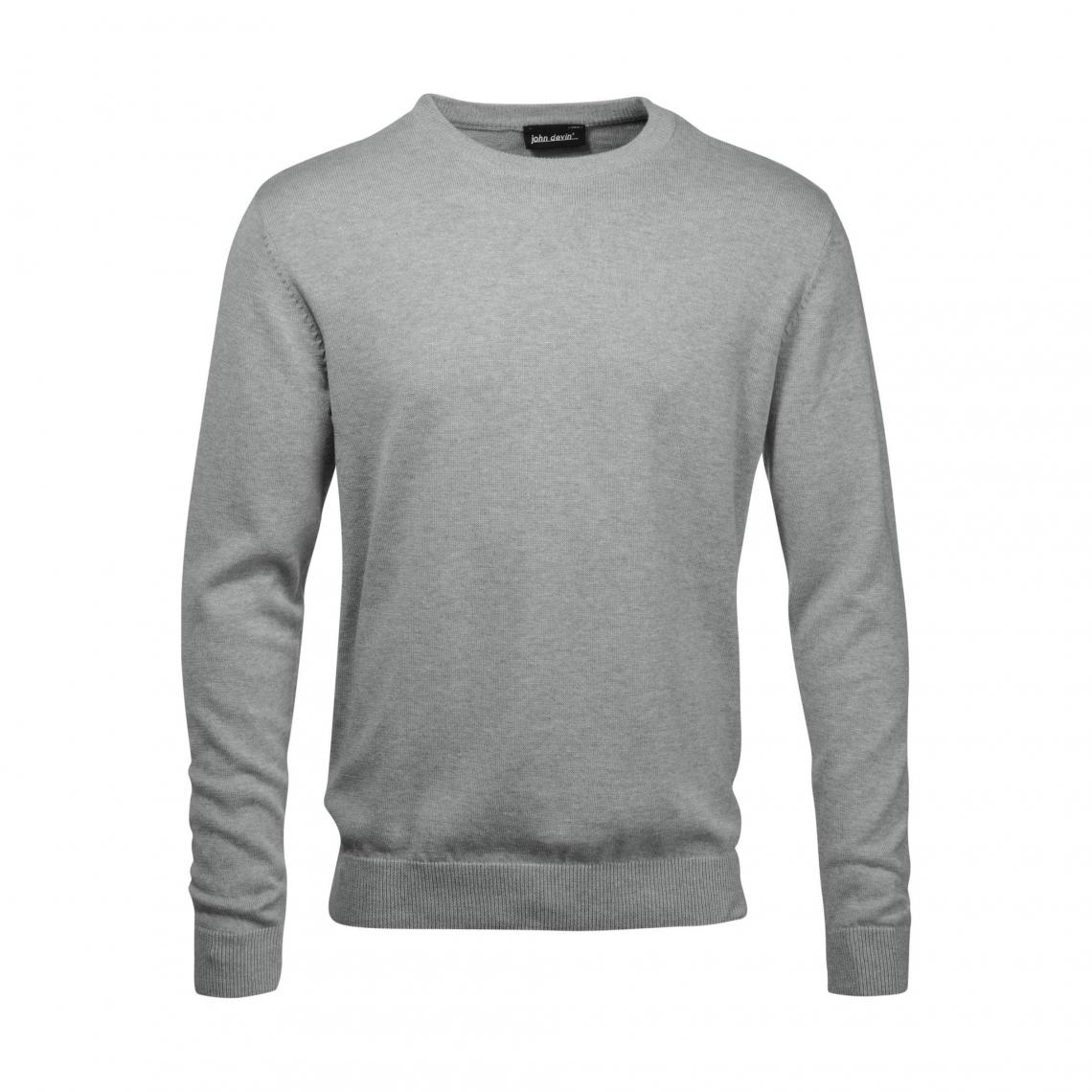 Pull col rond fine maille homme John Devin - Gris O6ITB