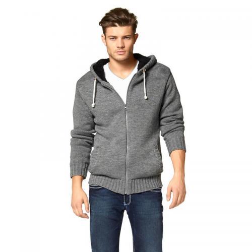c5dfe0a478341 John Devin - Gilet fourré zippé à capuche en tricot homme John Devin - Gris  -