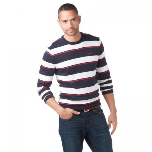 John Devin - Pull rayé col rond manches longues homme John Devin - Bleu - Pulls homme