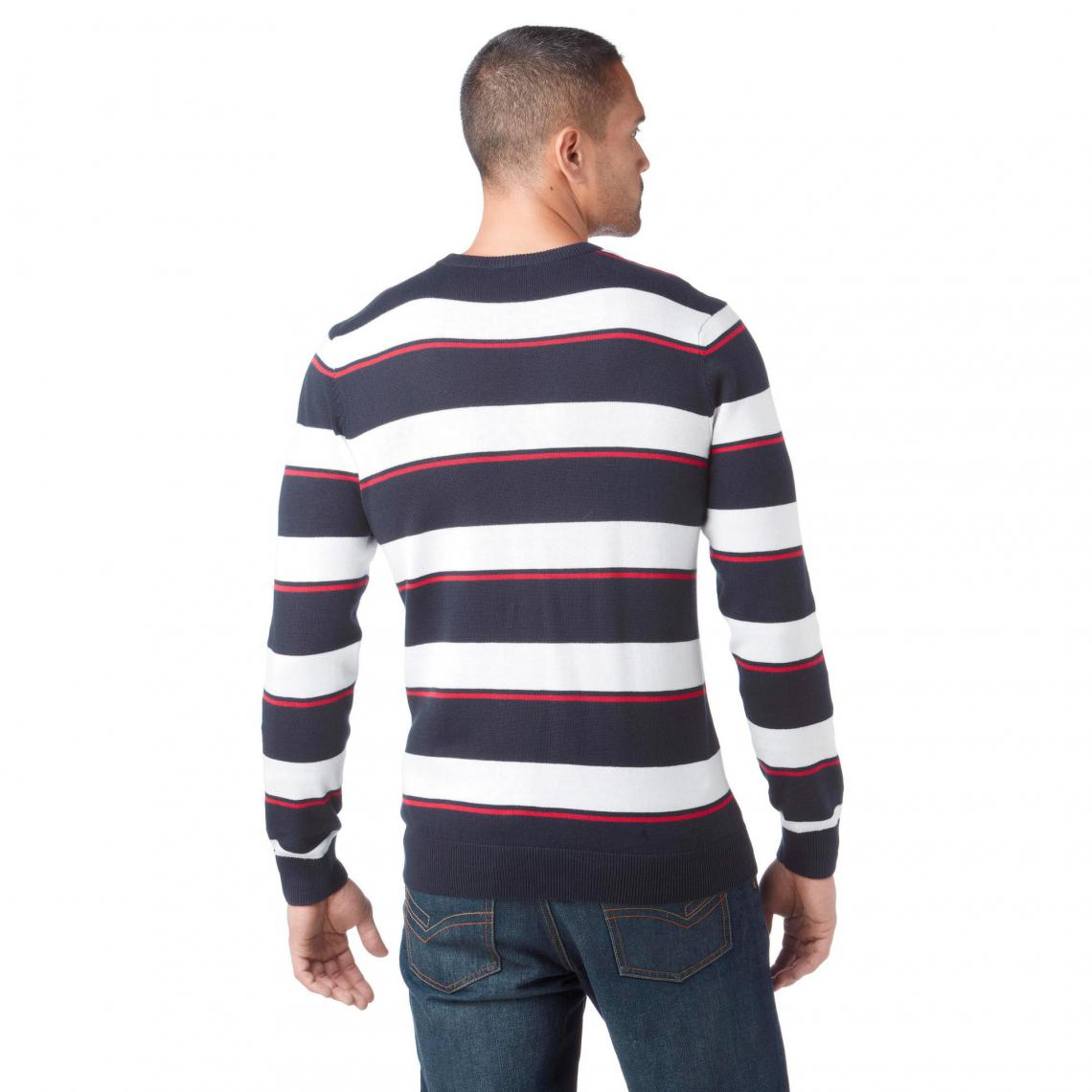 ea9af7141776d Pull rayé col rond manches longues homme John Devin - Marine - Blanc ...