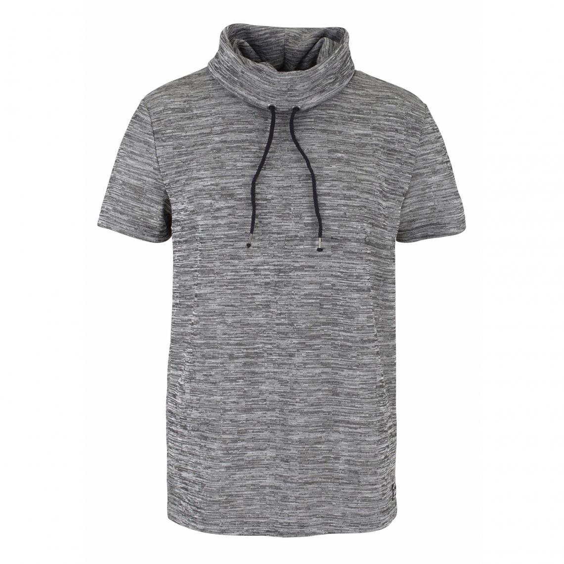 e775268fc1027 T-shirt col tube avec cordon de serrage manches courtes aspect chiné homme  John Devin