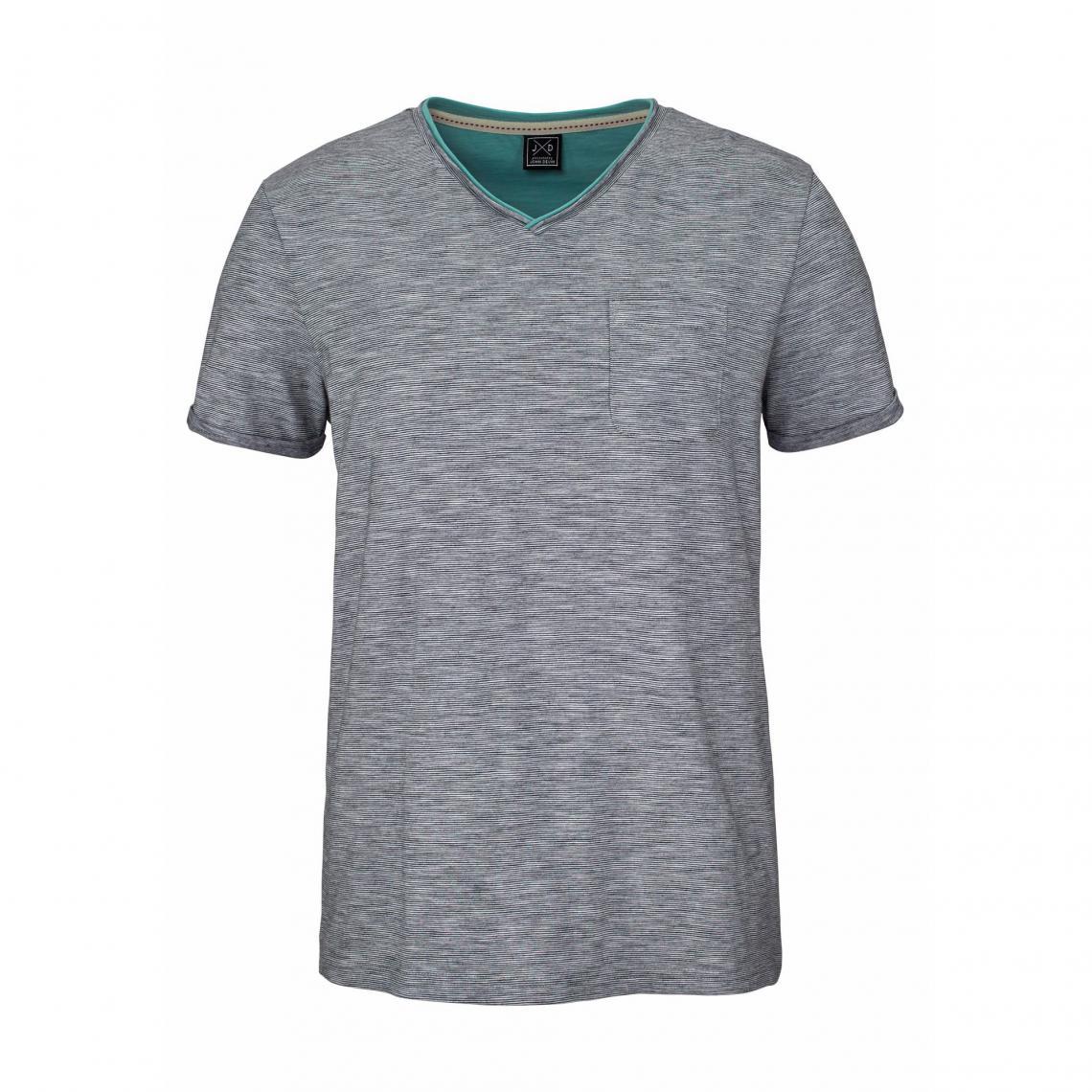 4c6e884d8 T-shirt rayé col V manches courtes homme John Devin - Bleu | 3 SUISSES