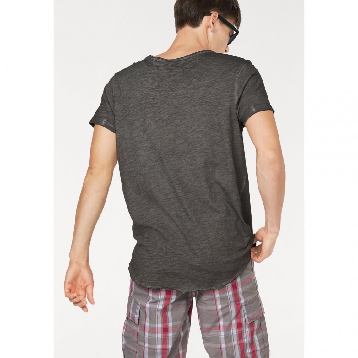 bb0be05eb49d8 T-shirt col rond manches courtes uni homme John Devin - Gris