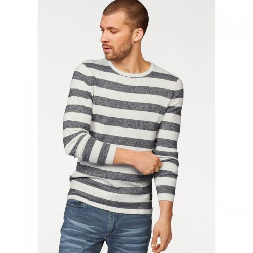 John Devin - Pull rayé col rond manches longues homme John Devin - bleu chiné - Pulls homme