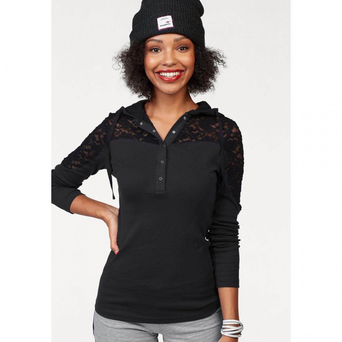 a8270af06f885 T-shirt inserts dentelle manches longues à capuche femme KangaROOS® - Noir