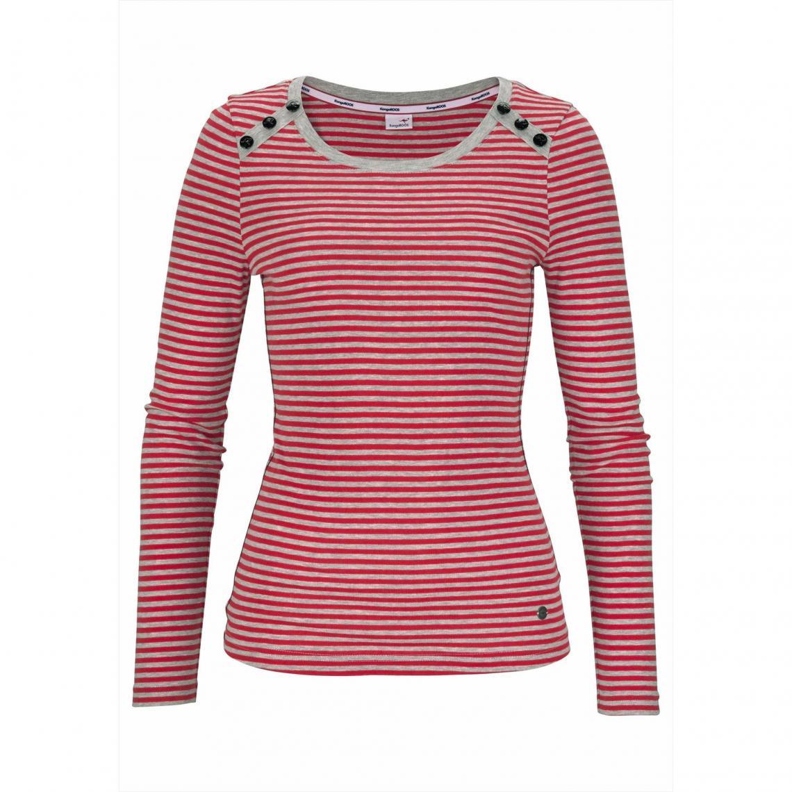68ce391b295 Tee-shirt manches longues femme KangaROOS® - rayé rouge KangaROOS