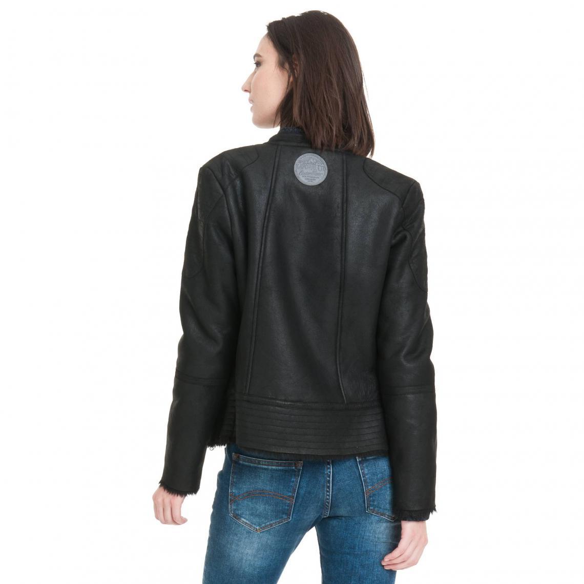 acheter populaire 206fd ceb79 Blouson en cuir femme doublé en fourrure synthétique Kaporal ...