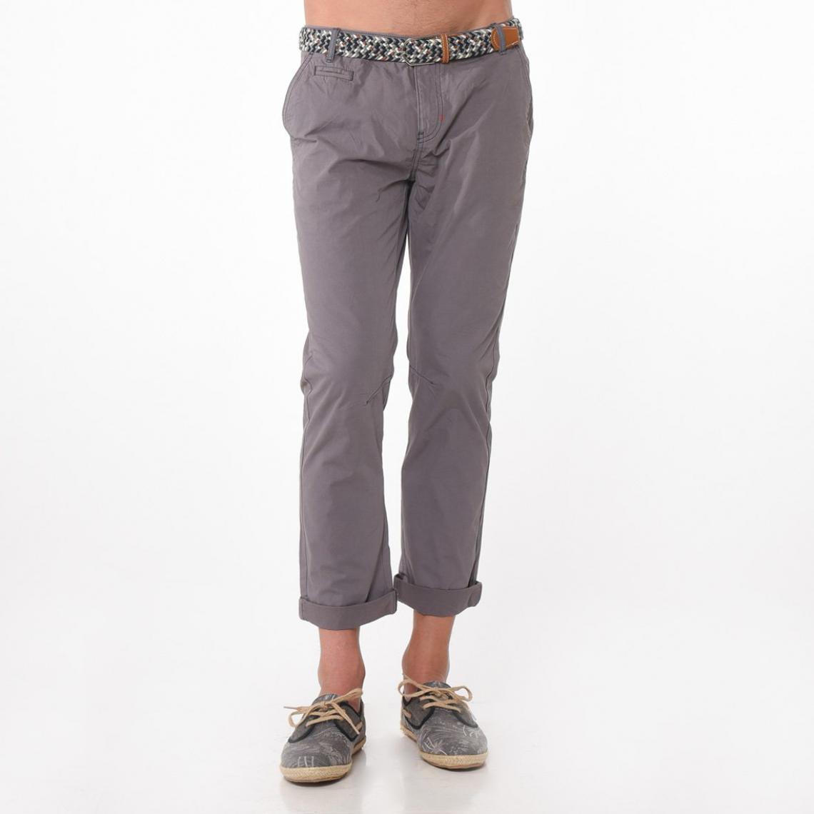 Pantalon chino homme longueur US 32 + ceinture tressée Kaporal - Gris  Kaporal 5 Homme 3f73fd68557