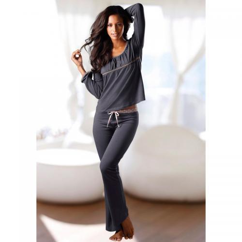 ba2829363ad05 Lascana - Pyjama manches longues encolure arrondie en coton femme Lascana -  Gris - Ensembles et