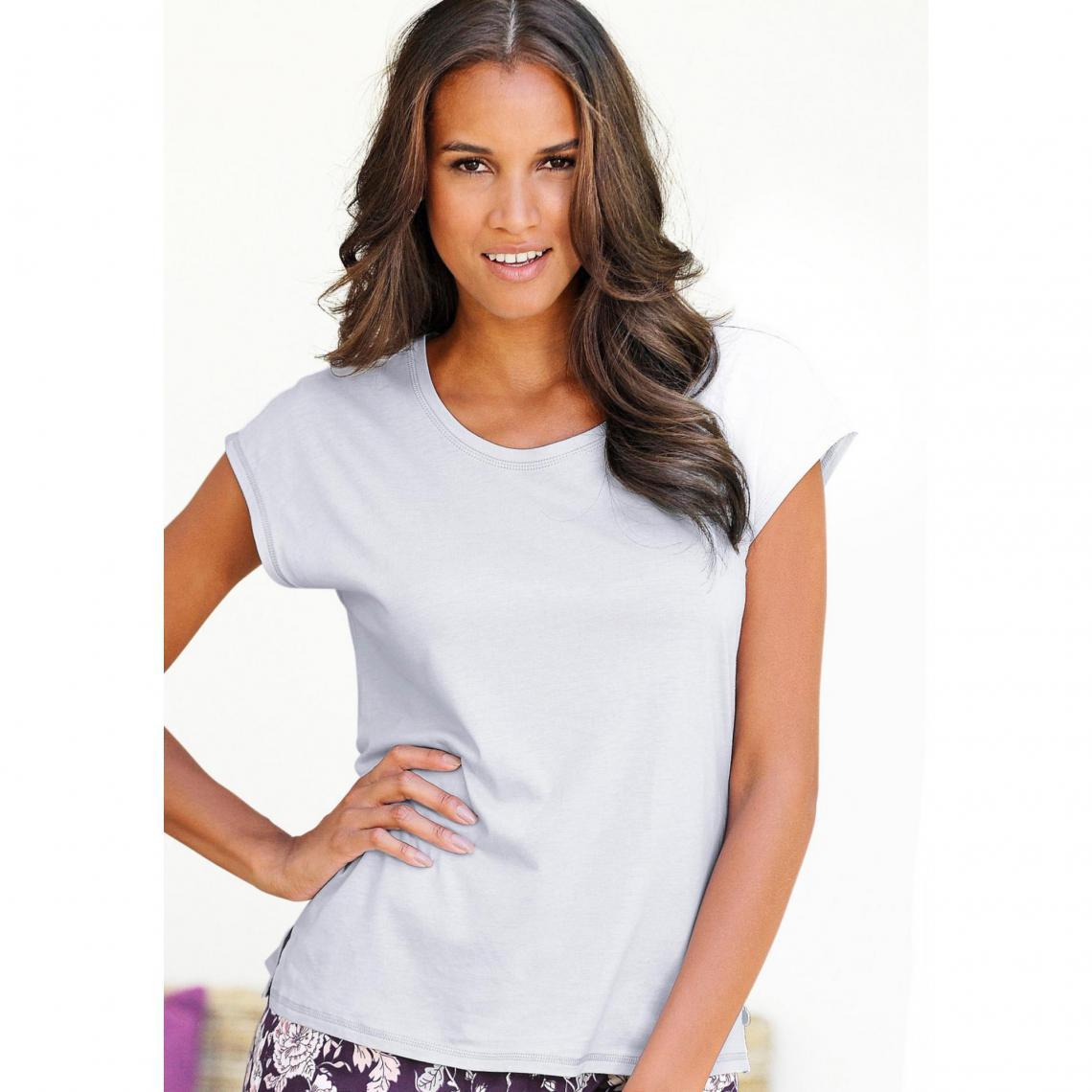 f59b1be48c140 Tee-shirt de pyjama à manches courtes femme Lascana - Gris Argent Lascana  Lingerie femme