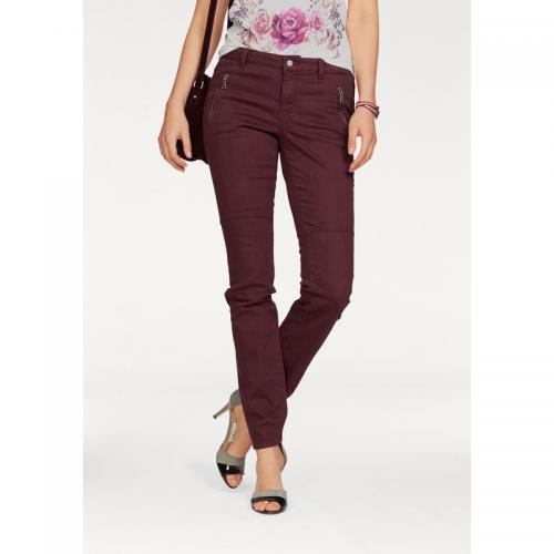 7c21af515e8cc Laura Scott - Pantalon slim zippé avec empiècements femme Laura Scott -  Bordeaux - Pantalons slim