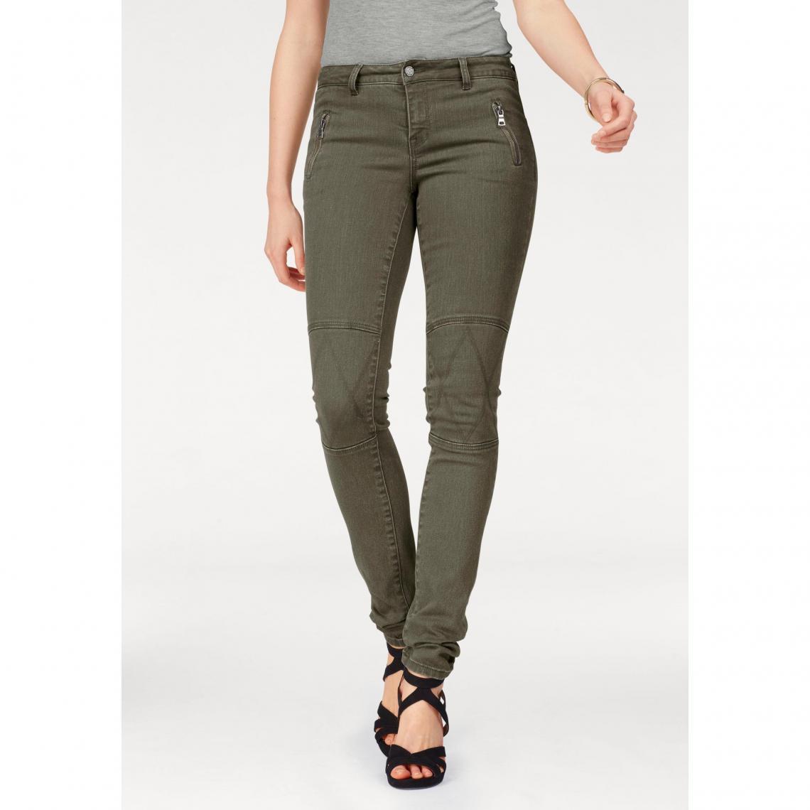 Pantalon slim zippé avec empiècements femme Laura Scott - Kaki Laura Scott  Femme a3239d5e8749