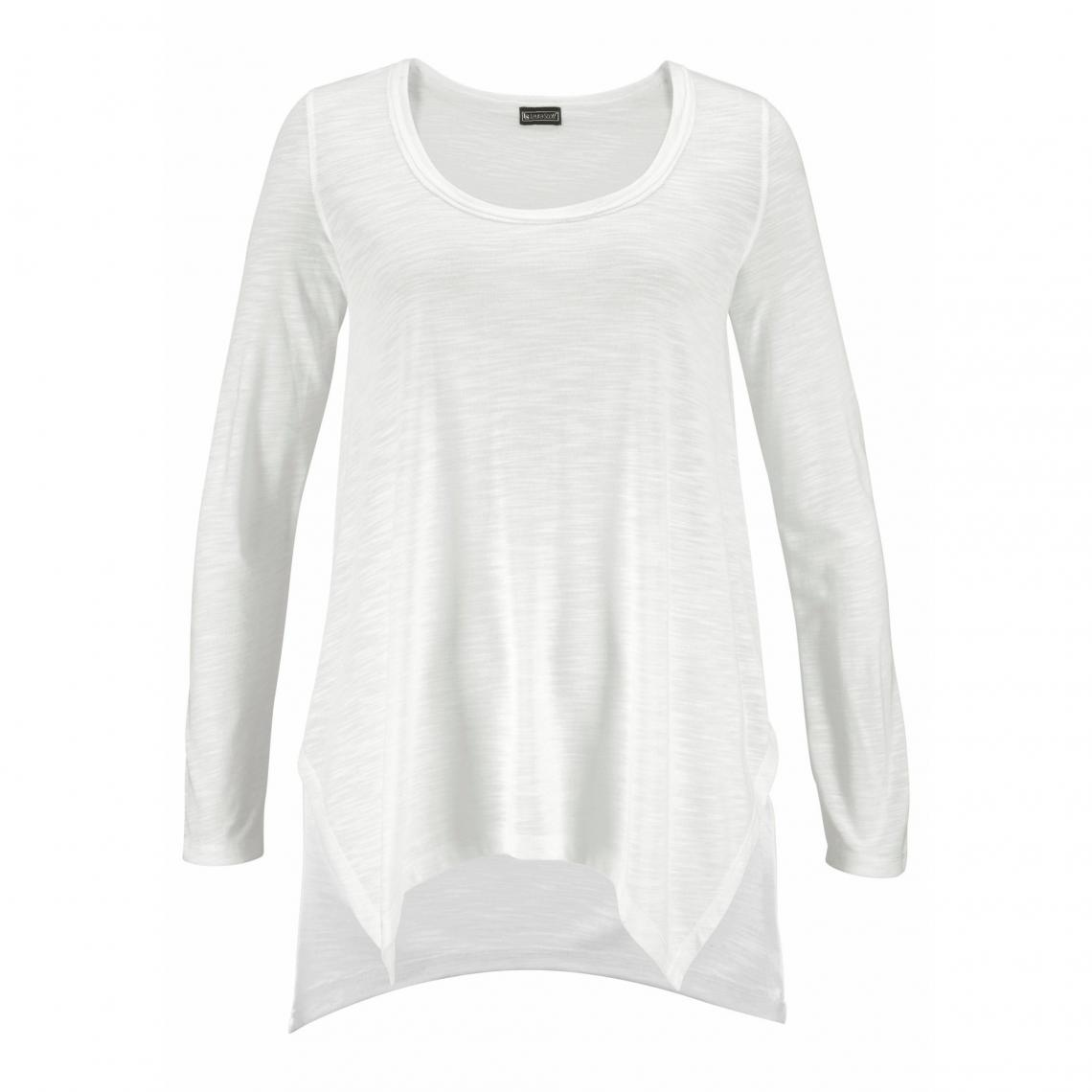 56c50efd2598 Tee-shirt ample long destructuré femme Laura Scott - Blanc Laura Scott