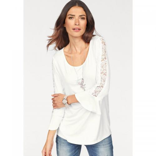 e521f645019d Laura Scott - T-shirt manches avec volants et empiècements dentelle femme  Laura Scott -